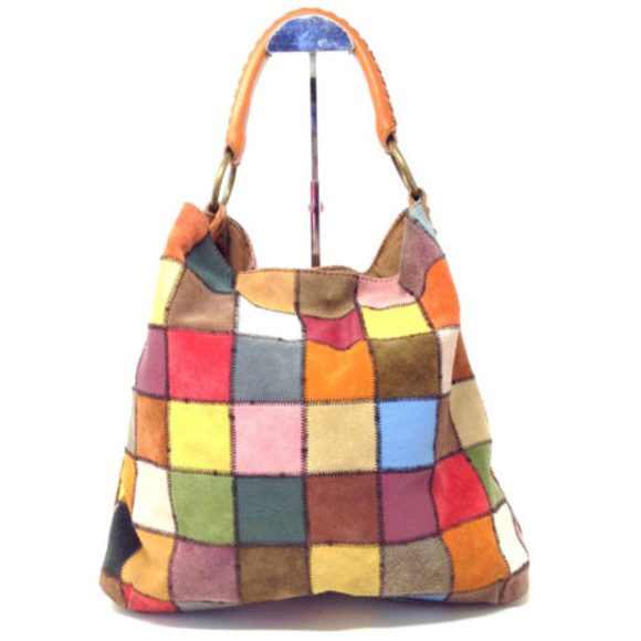 e027ece37c1c1 Lucky Brand Handbags - Lucky Brand Suede Leather Patchwork Hobo Purse Bag